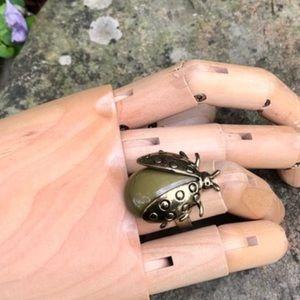 Vintage Green Adjustable Lady Bug Ring